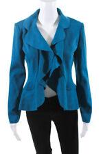 St. John Womens Wool Knit Open Front Asymmetrical Hem Cardigan Teal Blue Size 2
