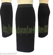 Basic Wear to Work Business Casual SLIM Wiggle Pencil Midi Skirt Dress Black 2XL