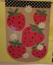 Red Strawberry, Fruit, Burlap -look, Spring, Summer, Polka Dots House flag