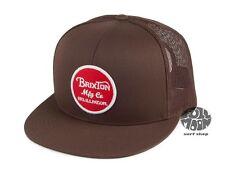 New Brixton Wheeler Brown Mesh Back Trucker Snapback Cap Hat