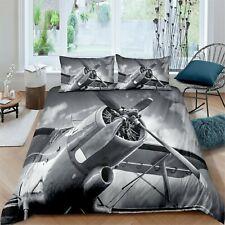 Grey Airplane Comforter Cover kids 3 PcS Bedding Set boys Duvet Cover Set