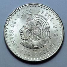1948 UNC MS Mexico 5 Pesos Silver Foreign Coin , Ley 0.900  Cinco Pesos!