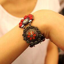 Bracelet Ethnique Rouge Turquoise Fleur Retro Original Soirée Mariage Cadeau CT2