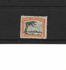 1932 COOK ISLANDS - 6d Black & Orange - LIGHTLY MOUNTED MINT.