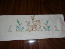 vintage embroidered pillow case white standard size deer fawn crocheted edge