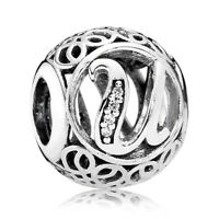AUTHENTIC PANDORA Vintage U Charm with CZ - 9033-4