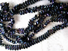 VTG 100 BLUE IRIS CRESCENT COLOR GLASS SPACER BEADS 8mm end of stock! #061013l