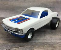 "Vintage Tootsietoy 1965 Ford Mustang GT 350 Hot Rod Plastic White 11"" Long *READ"