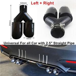 "Pair 2.5"" Inlet Gloss Carbon Fiber + Steel Car SUV Exhaust Tip Dual Pipe Muffler"