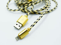 iGuard 1m Lightning Kabel Nylon Ladekabel Datenkabel Apple iPhone MFI Gold