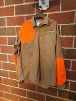 Columbia Mens XL Shooting Shirt Right Shoulder Heavy Cotton Khaki Orange Hunting