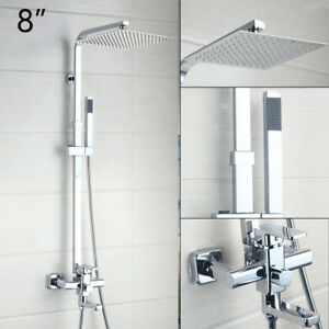 "8"" Shower Faucet Set Chrome Rain Square Head Handheld Spray Mixer Wall Mount Tap"
