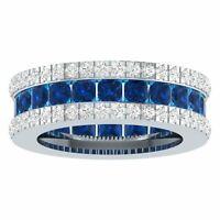 Full Eternity Band Princess Sapphire Diamonds Wedding Ring 14K White Gold Fn 925