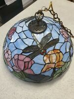 """Tiffany Style Dragonfly Hanging Light or Lamp Shade 20""""Wide"""