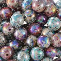 300 Mix Acryl Rund Spacer Perlen Beads Kugeln Mehrfarbig 12mm L/P