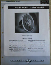 ^  Stromberg Carlson Model RF-471 Speaker System Original Sales Manual