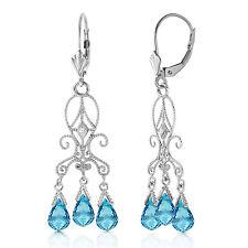 4.81 Carat 14K Solid White Gold Chandelier Diamond Earrings Blue Topaz