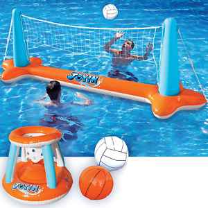 Inflatable Pool Games Large Volleyball Net Basketball Hoop Floating Water Toys
