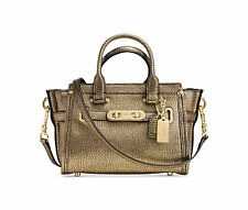 NWT COACH Metallic Leather Mini Swagger 20 Crossbody Handbag Gold 35990 $375