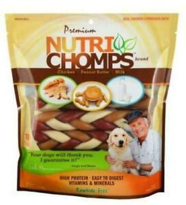 "Nutri Chomps 6"" MIXED Flavor BRAIDS Dog Treats & Chews 10 count FRESH Chicken PB"