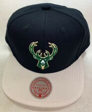 MILWAUKEE BUCKS 2020 NBA MITCHELL & NESS TUFF WELD SNAPBACK HAT CAP BLACK / TAN