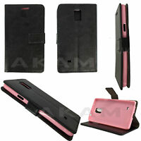 PU Leather Book Wallet Black Case Cover Samsung Galaxy Note 4 N910F Pink TPU