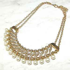 Pearl and Crystal Statement Necklace with Gold Beads and White Pearls - NEW
