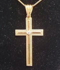 Vintage18K Latin Style Handcraft Cross Accents 7 points Diamond at Center