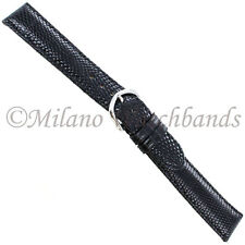 18mm deBeer Black Genuine Lizard Turned Edge Stitched Mens Watch Band X-Long