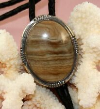 Sterling Silver Picture Jasper Bolo Tie with Braided Leather Cord (Bolo 192)