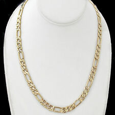 "6mm DIAMOND CUT FIGARO Link 24K 14K GOLD GL 20"" CHAIN Necklace 