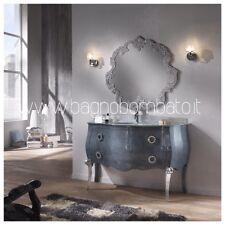 Mobile Bagno Stile Barocco Bombato Top Cristallo Argento
