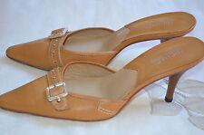 MICHAEL KORS Beige Tan Heels Mules Leather w/Accent Buckle Size 8.5