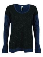 Calvin Klein Women's Long Sleeve Metallic Trim Top S, Black/Blue