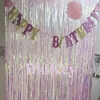 2 Packs of 3FTx8FT Foil Fringe Curtain Party Backdrop Tinsel Metallic Backgound