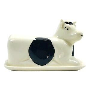 Cow Butter Keeper Dish & Lid Cover - White and Black Porcelain Betsy Dairy Farm