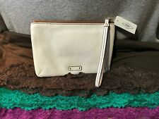 Handbag Fossil Keely Bone & Brown Pebble Leather Credit Card Wallet Zip Wristlet