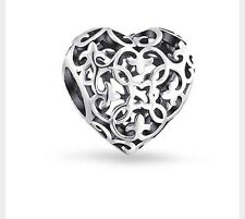Vintage Openwork Love Heart Genuine Silver s925 Pedant Charm +Gift Pouch