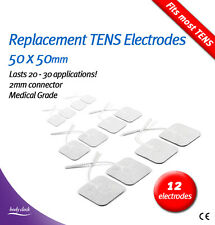 12 Self-Adhesive Electrode Pads for TENS & EMS – Replacement 50x50mm