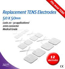 12 almohadillas Electrodos de Auto-adhesivas Para decenas & EMS – reemplazo 50x50mm