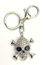 Crystal Skull Keyring Silver Coloured Gift Present Bag Chain Key Chain