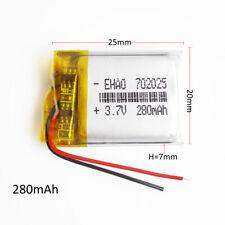 3.7V 280mAh lipo rechargeable Battery For MP3 Massager bracelet Selfie 702025