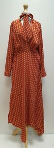 WOMENS BNWT TOPSHOP BROWN HORSE DOTTED FORMAL CASUAL SMART DRESS UK 12