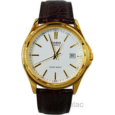 Casio MTP-1183Q-7A Men's Gold Analog Dress Watch w/ Croc-Leather Band & Date