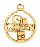 'Gin Queen' Christmas Bauble Wooden MDF Christmas Craft Decoration Alcohol Gift