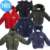 NEW BOYS Winter JACKET COAT HOODED Boy Padded Multiple Colours Size Age