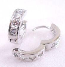 Gold Plated Unisex 16x5mm Uk Seller Simulated Diamond Huggie Hoop Earrings White