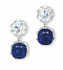 Solid Dangle Earrings Cocktail 925 Sterling Silver Blue Cushion White Round Cz