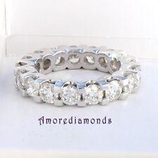 4.8 CT F SI round ideal cut diamond eternity 4 prong wedding ring platinum size5