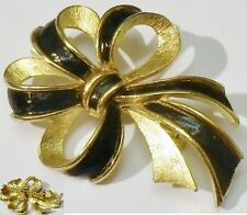 broche bijou vintage noeud couleur or relief émail noir  365